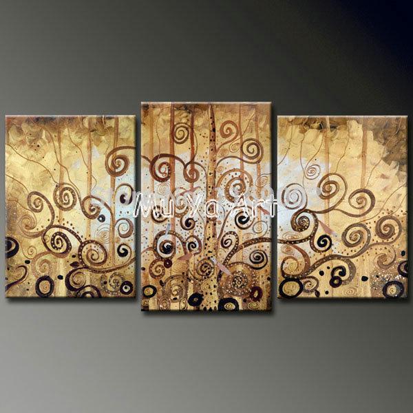 Abstrata moderna 3 painel canvas wall art ramo de árvore pintura à mão óleo sobre tela wall art decor sala pictures decoração(China (Mainland))