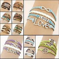 Hot Sale Womens Fashion Vintage Anchors Rudder Rectangle Leather Bracelet Multilayer Bracelets Girl Jewelry Wholesale Bangle