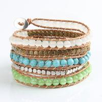 Free Shipping Beautiful 6mm Mix Semi-precious Stone Beaded 5 Wrap Leather Bracelets PCLB-E001