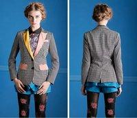 2014 Autumn winter Women's Plaid Suit patchwork Blazer with button For Women Desigual Elegant Ladies' Blazers and jackets Coat