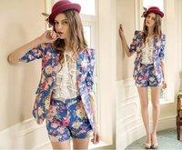 2014 Autumn winter Women's Floral Suit Print Blazer with button For Women Desigual Elegant Ladies' Blazers and jackets Coat