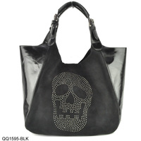 2014 New Arrival  Metallic Skull Slouch Bag With Hasp Lady Fashion Handbag Free Shipping QQ1595