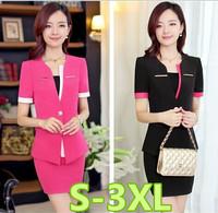 S-3XL size business suits women 2014 new slim plus size women work wear office uniform style skirt suits free shipping
