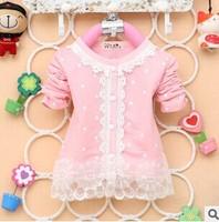 2014 New Autumn Fashion Baby Girls Nice Lace Cotton Long-Sleeved O-Neck Coat Dot Cardigan A162
