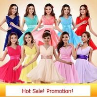 Free Shipping 2014 Hot Selling Short V-Neck Bridesmaid dress Chiffon Wedding Party Dress Student/Office lady formal/casual dress