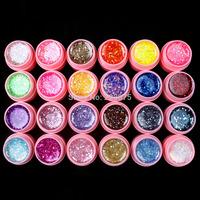 Free Shipping DIY Professional 24 Pcs Mix Color Glitter Hexagon Sheet Nail Art UV Builder Gel for Tips white pot  Set