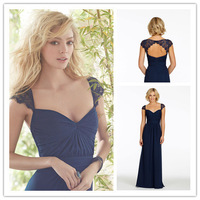 Hot&Sale Sweetheart Long Dark Navy Lace Cap Sleeve Bridesmaid Dresses 2015 Sexy Backless Floor Length Party Gown Vestidos