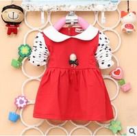2014 New Fashion Autumn Baby Girls Clothing Gemstone Pendant dot sleeves dress girl Lapel Tong T-shirt A163