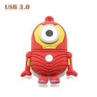 Retail 32GB Cartoon Minions Iron Man Shape USB 3.0 Flash Drive 8GB/16GB/64GB Usb Memory Thumb Stick Pen Drive Free Shipping