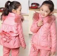 2014 Kids girls winter jacket large child  three-piece cotton  3pcs/set (jacket / sweater / pants)