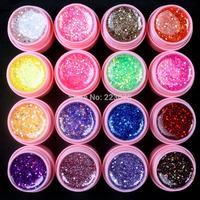 Free Shipping DIY Professional  New 16 Pcs Mix Color Glitter Hexagon Sheet Nail Art UV Builder Gel for Tips  white pot