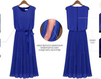 Free shipping summer 2014 new Sleeveless O-neck  Slim long pleated dress  for women one piece S-XL size  black pink  blue