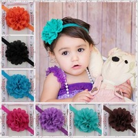 Wholesale Free shipping 12 Colors New Style beautiful Hollow chiffon flower headband girl baby hair band headwear 30 pcs/lot