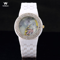 Hot- Lady Crystal Flower Print Hours Ceramic Strap Watches Analog Quartz Watches+Freeshipping