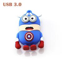 Character USB Minions Captain American Shape USB3.0 Pen drive Memory Stick USB Flash Drive 8GB/16GB/32GB/64GB Free Fast Shipping