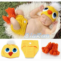 Crochet Knit Baby Hat and Diaper Cover & Shoes Costume Outfit Newborn Photography Props Infant Animal Beanies 1set H081