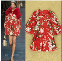 Luxury 2014 new runway autumn winter women fashion cherry print outerwear brand beading buttons jacquard patterns trench coats