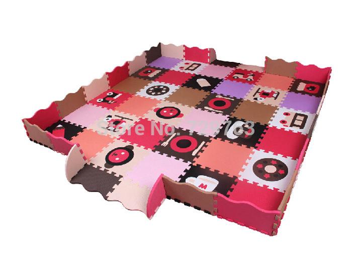 68pcs Set Eva Mousse Tapis De Jeu Puzzle B B Tapis De Sol Cl Tures Pad Tapis