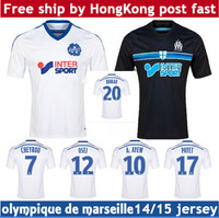 Free Shipping 2014 2015 Best Thail Quality Olympique De Marseille home away Football Shirt GIGNAC VALBUENA CHEYROU Soccer Jersey