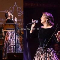 2014 Arabian Black V Neck Long Sleeve Ball Gown Velvet Two Pieces Evening Dresses