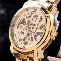 Fashion golded stell Band Stainless Steel automatic Mechanical Watch For Man Gold Mechanical Wrist Watch Free Shipping