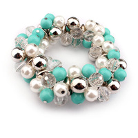 3Pcs/Lot Free Shipping ePacket White&blue Pearl Bohimia Style Bracelet Bangles Wholesale
