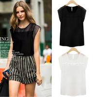 New Fashion Women's vintage Blouses&Shirt 2014 Stylish Women's Mini-Sleeve Chiffon Black&White Summer Blouses Tops nz187