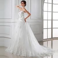 2014 wedding formal dress lace puff tube top flower sweet princess bride wedding or custom made