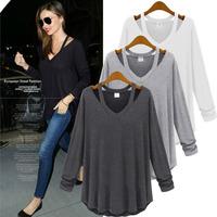 New 2014 Fashion Summer Ruffles Regular full sleeve O-Neck loose large size S-L Cotton T-Shirt Women Free shipping TS0005