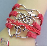 DHL Free shipping to USA 100pcs/lot  Love hope bracelet leather bracelet