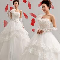 2014 New Arrival Romantic Fashion Bridal Gown Sweet Princess One Shoulder Spaghetti Flower Strap Wedding Dress Drop Shipping