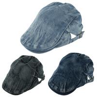 New Beret Cowboy Denim Hat For Men Women Newsboy Hat Flat Cabbie Causal Blue Black Cap Side Adjustable