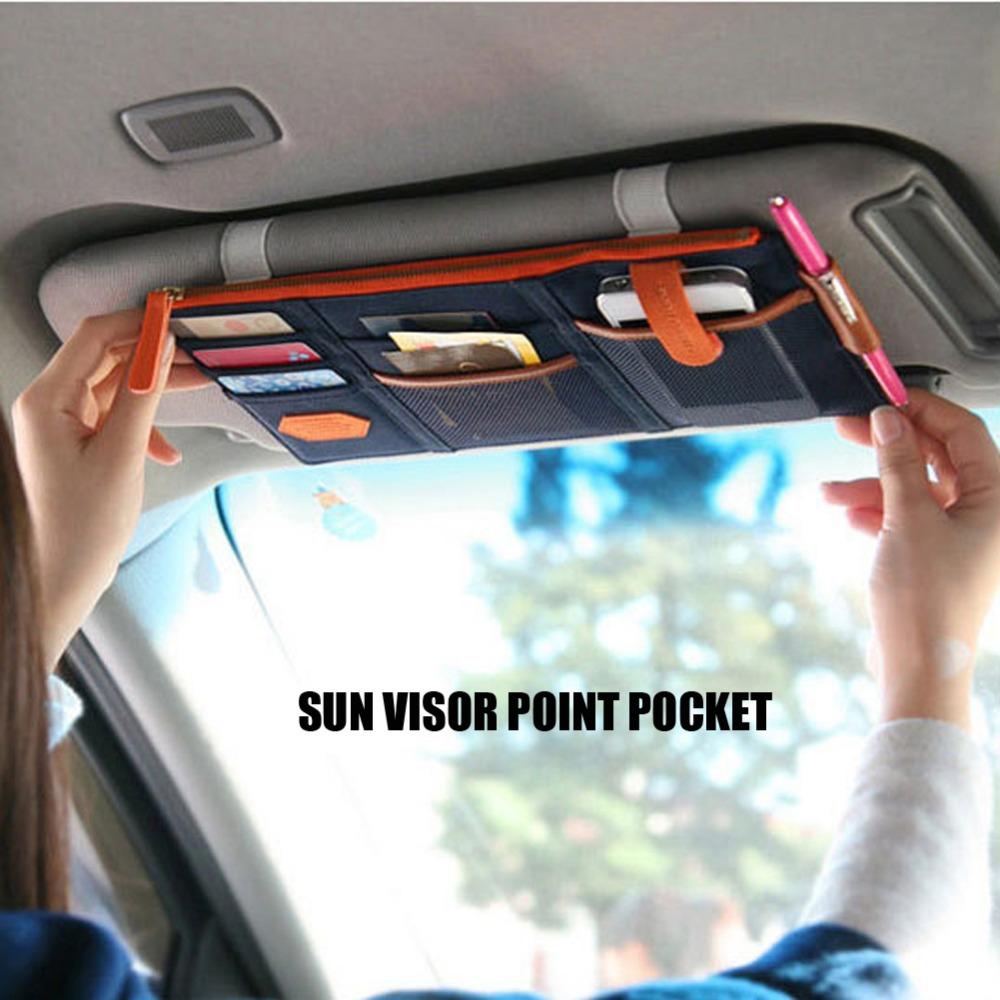 Multifunctional Sun Visor Storage Bag Car Hanging Bags Storage Holder Auto Organizer Arrangement Card Case OF Sun Visor Pocket(China (Mainland))