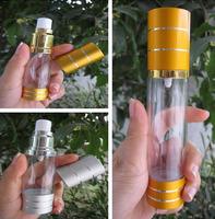 Via Fedex/TNT, 30ML Gold Silver Airless Plastic Lotion Bottle Vacuum Emulsion Pressure Bottle Vacuum Cosmetic Packaging 600PCS
