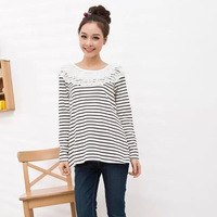 Pregnant women fashion stripe t-shirt loose comfortable basic shirt clothing long-sleeve tops pregnant women ruffles collar tees