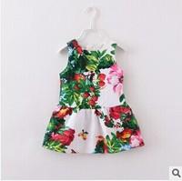 2014 new fashion fall European American style flower butterfly print sundress baby & kids girls floral designer brand dresses