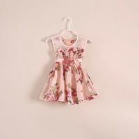 New Summer Colorful Flower Printed Children Girls Dress Lace Belt Kids Vest Dress 90cm-140cm Free Shipping