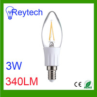3W led filament lamps with 340lm candle light for living room 2800k 6000k can be e14 e12