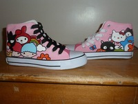 2014 Free shipping Brand new hand painted canvas shoes leisure style high tops in pink