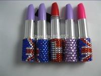 2014 Hot Free shipping(100pcs/lot) wholesale Fashion 9.8cm Lipstick jeweled pen novelty pen