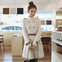 women's coat 2014 new fashion high quality winter wool coat long style slim waist double-breasted sashes ladies coat 2325