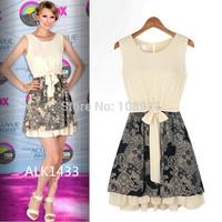 FreeShipping 2014 Summer Plus SIze European American Sleeveless Print Patchwork femininos Fashion lace chiffonOne-Piece  vestido