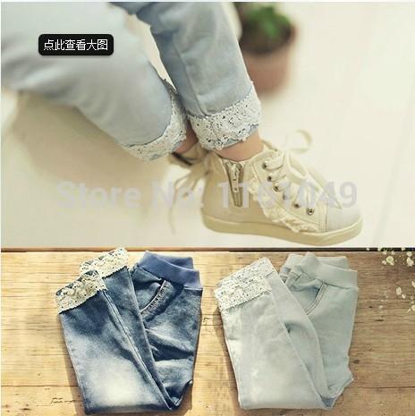 Neue Frühjahr Herbst 2014 sommermode kinder baby kinder jeans markenjeans hose für mädchen mit spitze Einzelhandel 3-10 Jahre