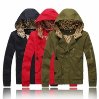 2014 New Autumn Fake pocket design Leopard hooded jackets for men single-breasted Leopard hooded outwear men,M-XXL,JK05