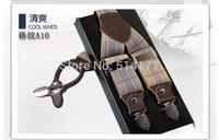Free shipping 1pc Genuine leather accessories male clip suspenders men's casual suspenders clip spaghetti strap checked color