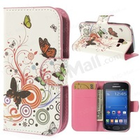 Free shipping 1pc/tvc-mall Wallet Leather Cover for Samsung Galaxy Trend Lite S7390 S7392