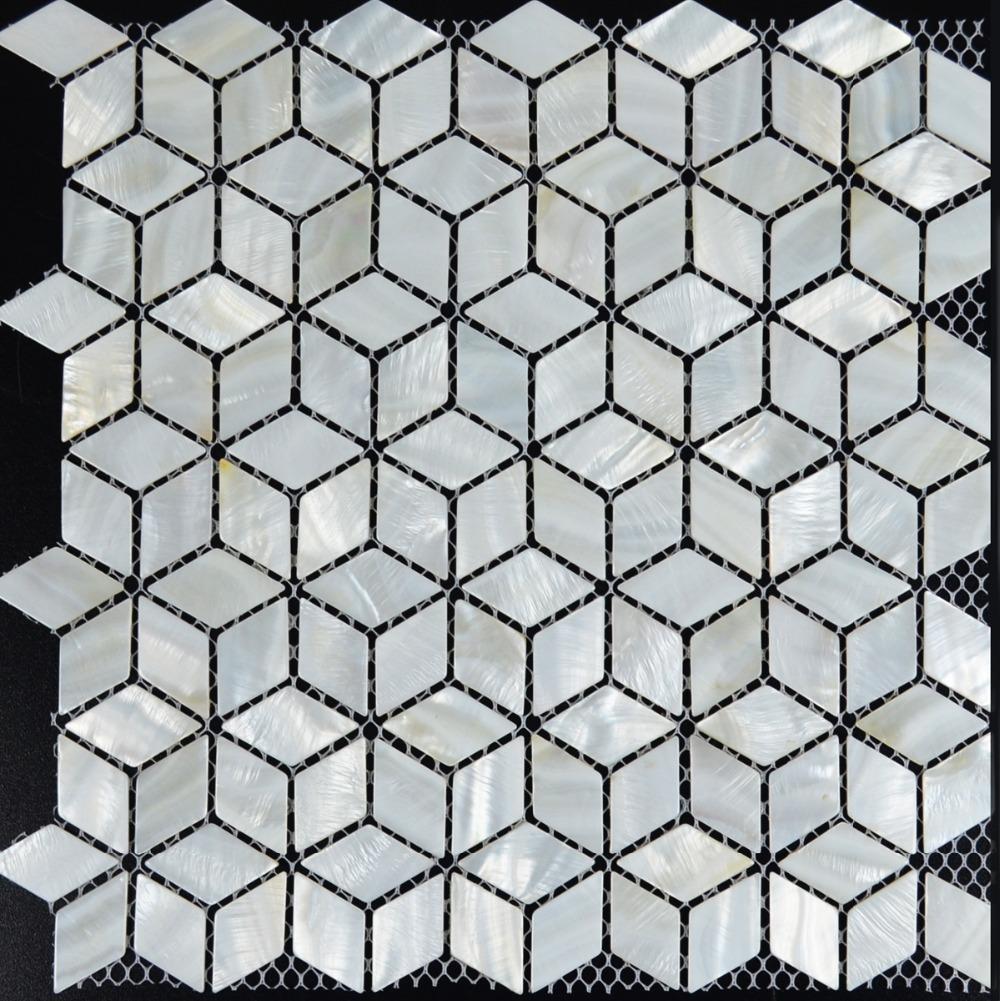 White mosaic tile backsplash rhombus kitchen mother of pearl tiles diamond bathroom mirror shower wall floor shell decor tile(China (Mainland))