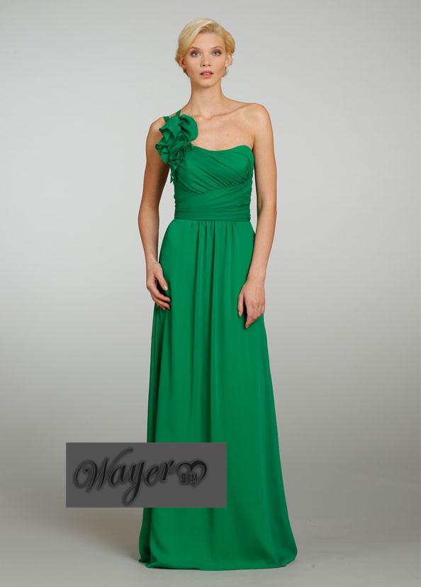 ... One Shoulder Sleeveless Chiffon Pleated Wedding Guest Dresses