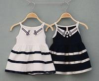 wholesale new 2014 fashion kids girl summer dress,school uniform dress girls clothes, sleeveless navy dress, Girl Sailor Dresses