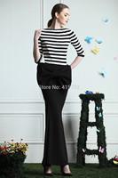Free Shipping 2014 New Elegant High Waist Fish Tail Long Maxi Skirt For Women Black ol Mermaid Skirts With Slit Bowknot Skirt